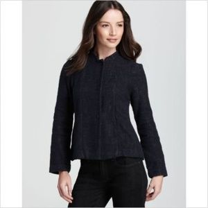 Eileen Fisher Mandarin Collar Tweed Cropped Jacket